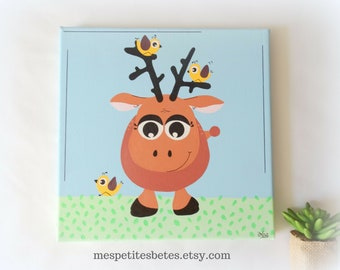 Reindeer painting, Nursery painting, Nursery art, Nursery wall art, Baby's room painting, Scandinavian painting, Nursery wall decor