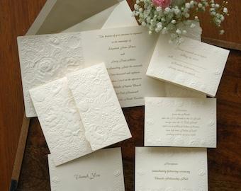 Floral Embossed Wedding Invitation Set, embossed roses, elegant, romantic, garden, blind emboss, folded invite, ecru, ivory / Rosemont/AV471