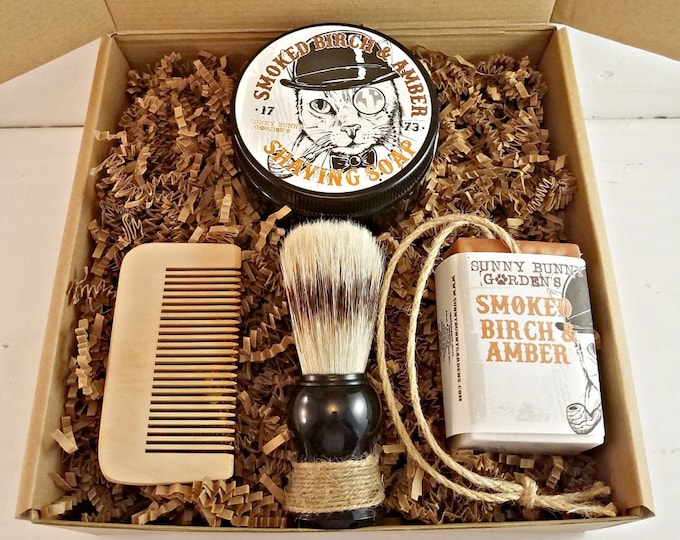 Featured listing image: Smoked Birch Amber Mens Shaving Soap Gift Set, Vegan Soap Gift Basket For Men, Homemade Soap on A Rope Shaving Soap for Men, Groomsman Gifts