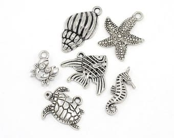 6 pcs. Silver Tone Beach Charms Pendants with Jump Rings- 12mm- 25mm - Variety - Assortment - Mix - Set
