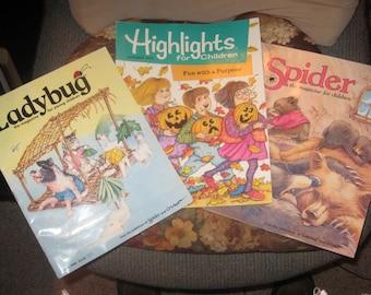 Lot of 3 Vintage Children's Magazines Ladybug, Highlights and Spider