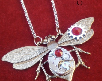steampunk entomologist  necklace in red- steampunk dragonfly  - moth - mechanical dragonfly - dragonfly necklace -