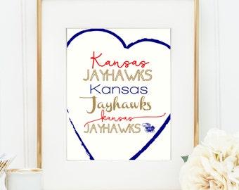Kansas Jayhawks print- University of Kansas- 8x10- instant download