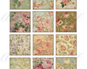 Shabby ANTIQUE ROSES DOWNLOAD -Digital Collage Sheet, Instant Download Digital Printable 1 and 2 inch squares, pendant,tag,sticker more-