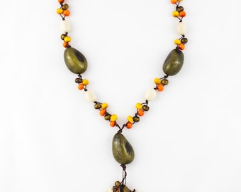 Handmade Multicolor Long Tagua Nut Jewelry Modern Elegant Casual Classy Necklace for Women