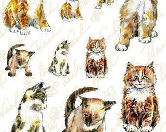 Kittens - Digital Collage Sheet - Instant Download - Printable Files - Perfect for Crafting