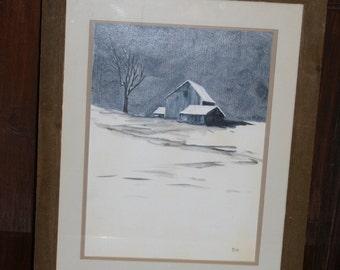 Vintage Hand Painted Artist Signed Winter Barn Scene