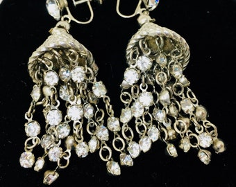 "Vintage Rhinestone Tassels Screw-back 1930's Earrings 2 1/4"" Dangle Textured Cone Rockabilly Runway Fashionista"
