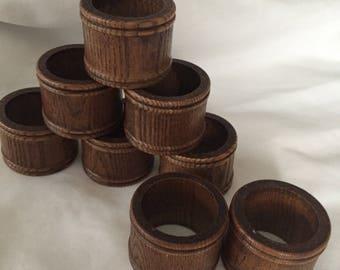 Wood napkin  rings  1970 design, carved wood napkin rings box J
