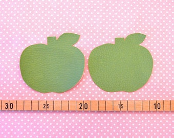 2 iron-on patches leatherette Apple green