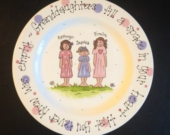 Handpainted Platter for Grandparents - Granddaughters are a blessing. Mother's Day gift