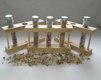 Botanical bath salts shot trio with essential oils
