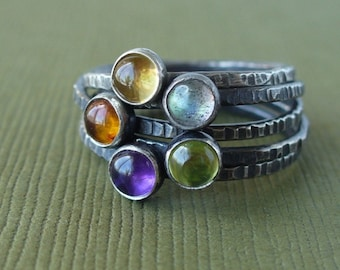 Pick 5 - Tiny Stacking Rings - Mother's Rings - Your choice of birthstones - Also available in shiny or matte sterling silver