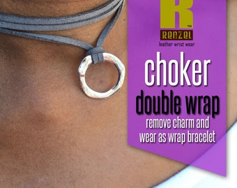 Choker Wrap Necklace, Double Wrap Leather or Faux Suede Choker Necklace, Hammered Circle Ring, Necklace, Bracelet
