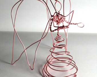 Quad Wing Pink Wire Angel with book -medium- aluminum - caroling angel tree topper with 4 wings