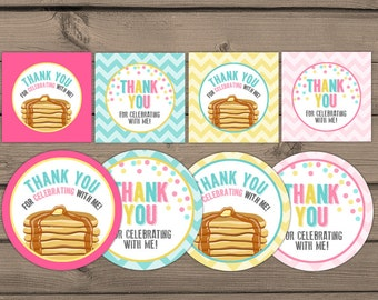 Pancakes and Pajamas Thank You Tags Birthday Pancakes birthday Cupcake Toppers Favor Tags Thank you labels Pink mint Digital PRINTABLE