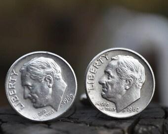 Boutons de manchette... Boutons de manchette en dime Roosevelt argent fabriqués à partir de.90 authentique argent 1960 dimes Roosevelt le patriote, dans votre vie