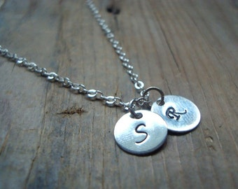 Sterling Silver Small Personalized Initial Double Charm Necklace - Monogram Pendant, Custom Initial Disc, Initial Pendant Mothers Day