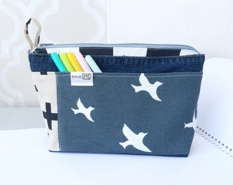 Big pouch, toilet bag, cosmetic bag, recycled jeans, woman pouch