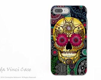 Colorful Paisley Sugar Skull - Artistic iPhone 7 PLUS - 8 PLUS Tough Case - Dual Layer Protection - Sugar Skull Paisley Garden