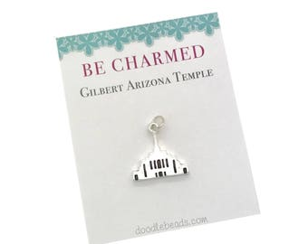 Gilbert Temple, LDS Temples, Gilbert Arizona Temple charms, LDS Wedding, Mormon temple charm bracelet, temple Necklace or LDS temple keyring