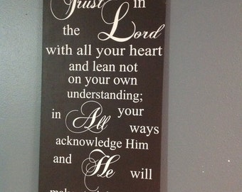 Trust in the Lord Hand Painted Distressed Wood Sign Proverbs 3 Christian Wall Decor Scripture