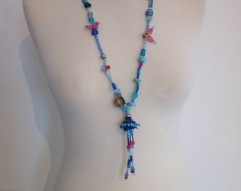 Beaded Tassel Necklace, Long Necklace, Tassel Pendant, Tassel Necklace, Glass Seed Bead Tassel Necklace, Boho Necklace, Boho Tassel Necklace
