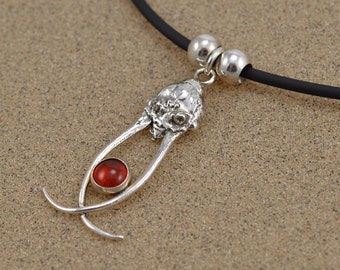 Dobsonfly Necklace with Carnelian or Onyx - Sterling Silver