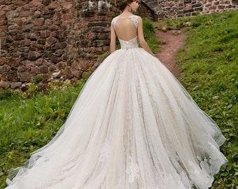 Wedding dress LENORA, A-line wedding dress, lace wedding dress