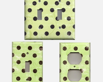 Distressed Rustic Lighting Lime Green & Black Polka Dots w/ Flowers Light Switch Plate Covers Wall Outlet Covers Light Switch Cover