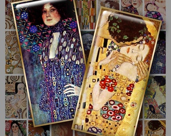 1x2 inch GUSTAV KLIMT Digital Printable Domino collage sheet for Pendants Magnets Crafts...Art Nouveau Vienna Secessionist