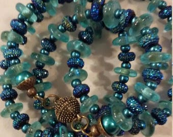 Turquoise beach glass rondelles with pave beads & teal seed spacers Necklace with antique bronze