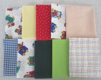 10 Fat Quarter Bundle Pack Vintage Fabrics Primary Baby Fat Quarter Bundle Primary Childrens Fabric