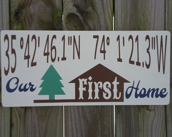 Personalized latitude longitude sign/our first home coordinates/custom longitude latitude wood sign/GPS coordinates/family latitude