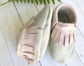 Pink and Gray Leather Baby Moccasins - Toddler Moccasins -Soft Soled Shoes- baby Shoes- Baby Shoes- Baby Girl Shoes- baby shower