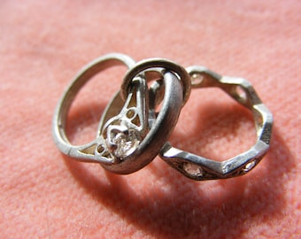 Vintage Sterling Silver Charm Three rings of life