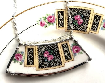 Broken china jewelry necklace, antique Art Deco pink roses on black, broken plate necklace recycled china ecofriendly Dishfunctional Designs