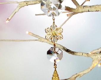 Sun Catcher, Christmas Ornament, Crystal Flower Filigree, 1S-85