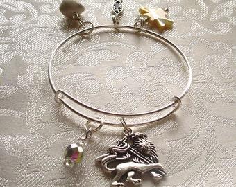Lion Lamb and Dove Expandable and Stackable Charm Bracelet
