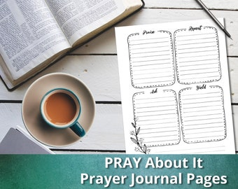 PRAY About It: Prayer Journal Pages, Instant Download, Printable