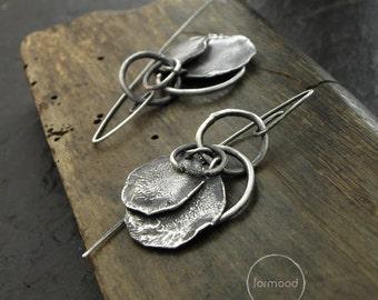 100% Ag - earrings, raw sterling silver earrings