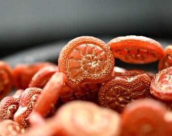 2 tut langsam es - Premium-Tschechische Glasperlen, milchig Lachs Rosa, Metallic Gold, Ammonit Schnecken 18x16mm