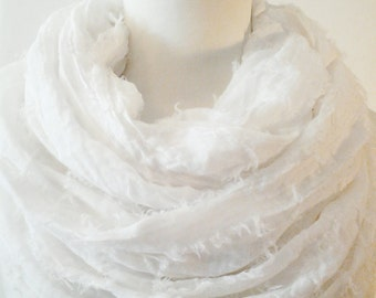 White Infinity Scarf / Fabric Scarf / Gift for Her / Gift Ideas.