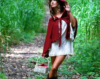 Red Riding Hood Cape - Cloak - Halloween Costume - Women - Organic Cotton - Eco Friendly