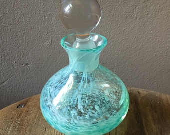 Vintage perfume bottle. Green acqua turquoise swirled glass lead crystal perfume decanter 1980's Shabby chic vintage boudoir. Mother's Day.