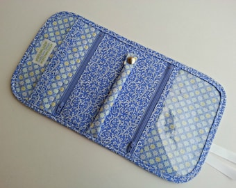 Travel Jewelry Organizer Pouch Clutch quilted in a Periwinkle print