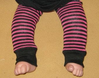 Leg warmer, Infant, Newborn -Thin Stripe's in Fuschia and Black-infant leg warmer, newborn leg warmer, baby girl leg warmer, baby leg warmer