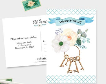 We've Moved Postcards - Watercolor Moving Announcement Cards - Set of 15, 30, or 60 - Change of Address -Keys Bundle - Floral