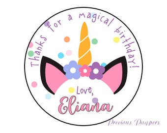 Unicorn stickers personalized,  printed and shipped to you, unicorn stickers for treat bags or unicorn birthday party