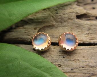 Blue Moonstone Stud Earrings, Iridescent Cabochon Earrings in 14k Yellow Gold, 4mm